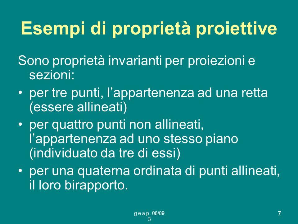 g.e.a.p. 08/09 3 7 Esempi di proprietà proiettive Sono proprietà invarianti per proiezioni e sezioni: per tre punti, lappartenenza ad una retta (esser