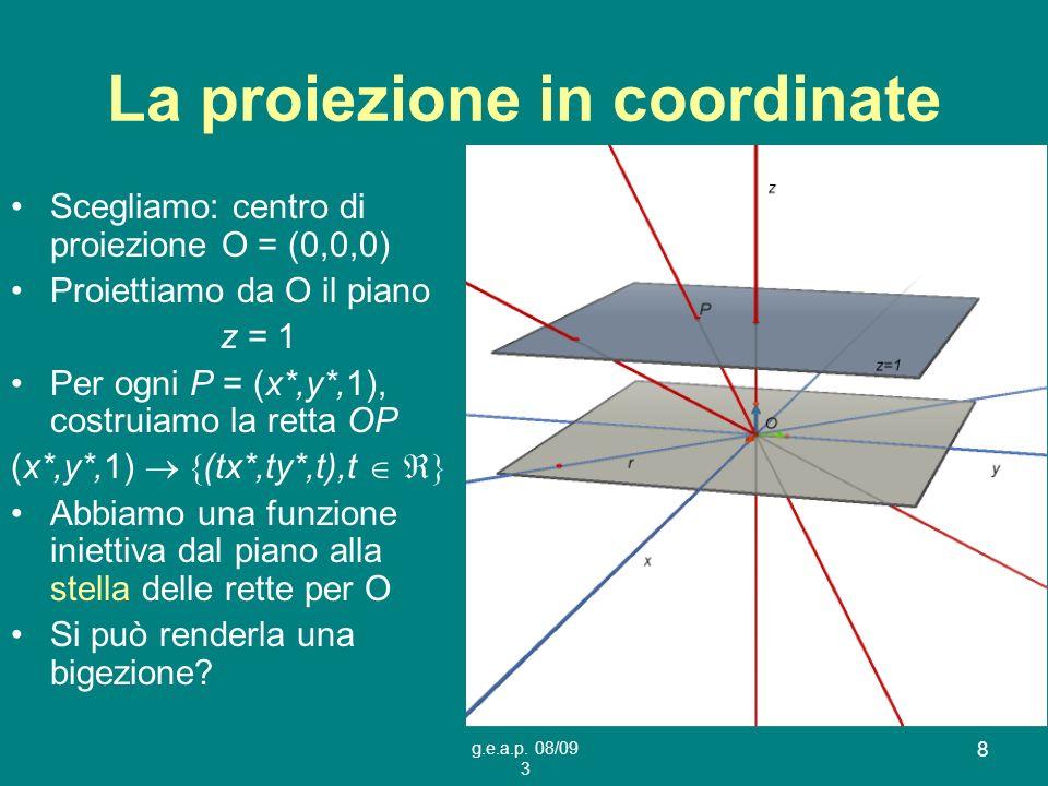 g.e.a.p. 08/09 3 8 La proiezione in coordinate Scegliamo: centro di proiezione O = (0,0,0) Proiettiamo da O il piano z = 1 Per ogni P = (x*,y*,1), cos