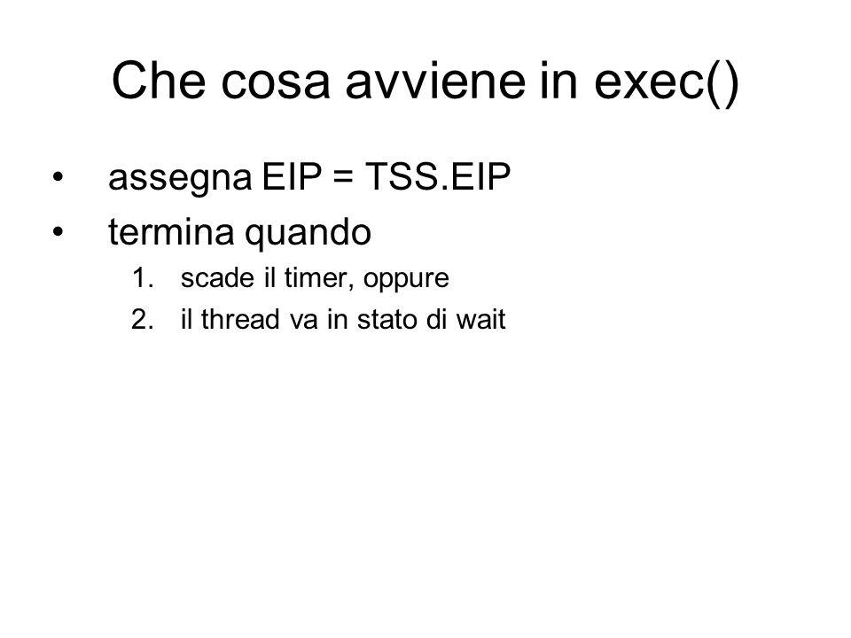 Che cosa avviene in exec() assegna EIP = TSS.EIP termina quando 1.scade il timer, oppure 2.il thread va in stato di wait