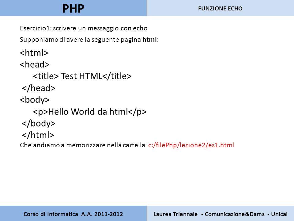 Corso di Informatica A.A. 2011-2012Laurea Triennale - Comunicazione&Dams - Unical PHP FUNZIONE ECHO Esercizio1: scrivere un messaggio con echo Supponi