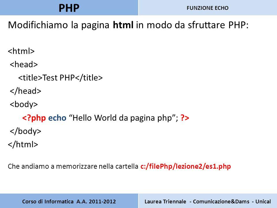 Corso di Informatica A.A. 2011-2012Laurea Triennale - Comunicazione&Dams - Unical PHP FUNZIONE ECHO Modifichiamo la pagina html in modo da sfruttare P