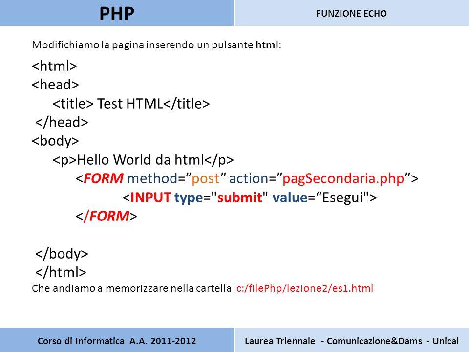 Corso di Informatica A.A. 2011-2012Laurea Triennale - Comunicazione&Dams - Unical PHP FUNZIONE ECHO Modifichiamo la pagina inserendo un pulsante html: