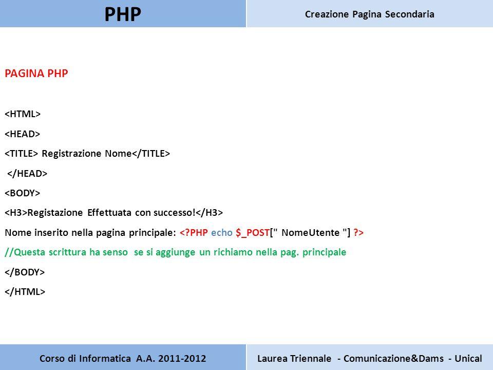 Corso di Informatica A.A. 2011-2012Laurea Triennale - Comunicazione&Dams - Unical PHP Creazione Pagina Secondaria PAGINA PHP Registrazione Nome Regist