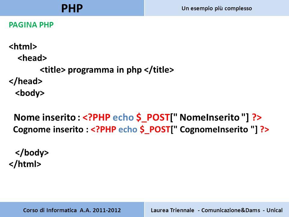 PAGINA PHP programma in php Nome inserito : Cognome inserito : Corso di Informatica A.A. 2011-2012Laurea Triennale - Comunicazione&Dams - Unical PHP U