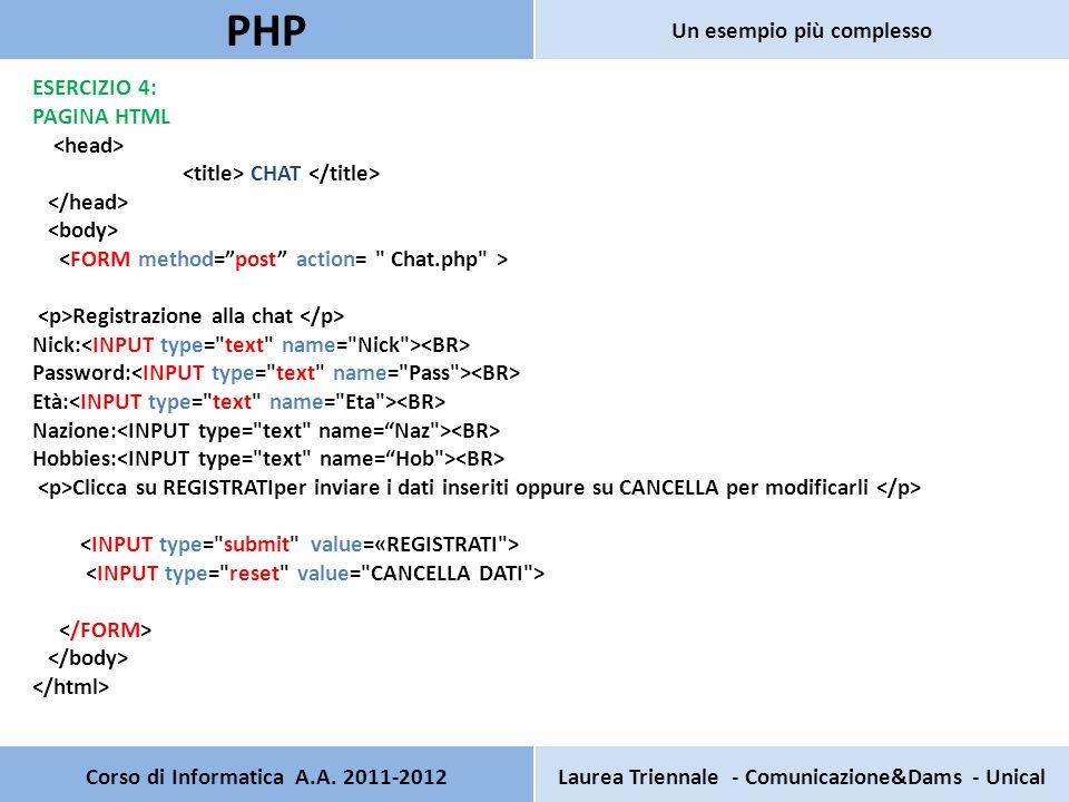 ESERCIZIO 4: PAGINA HTML CHAT Registrazione alla chat Nick: Password: Età: Nazione: Hobbies: Clicca su REGISTRATIper inviare i dati inseriti oppure su