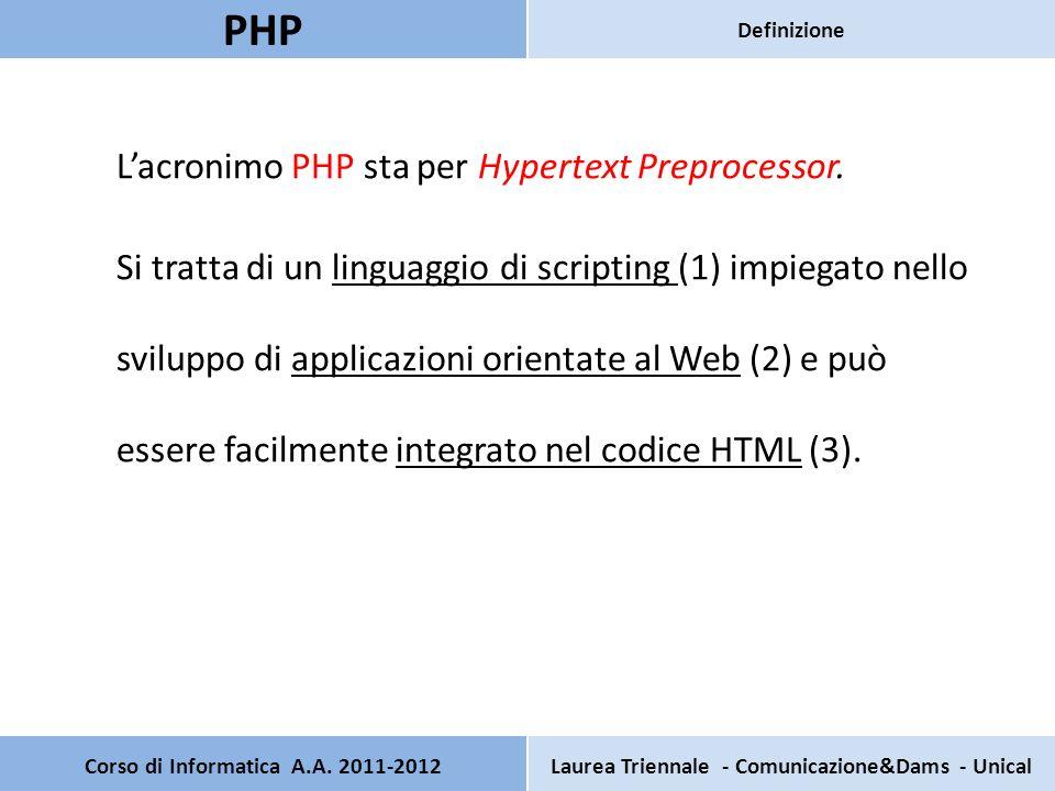 Lacronimo PHP sta per Hypertext Preprocessor. Si tratta di un linguaggio di scripting (1) impiegato nello sviluppo di applicazioni orientate al Web (2