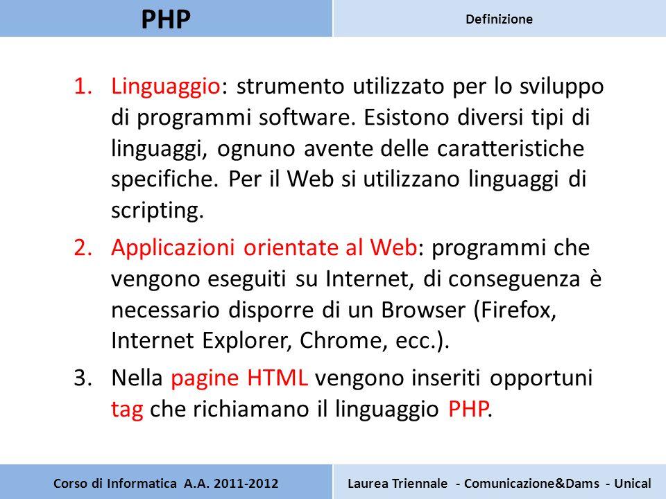 Un programma PHP è, generalmente, costituito da due pagine: Una pagina principale: contiene tutti i componenti grafici e rappresenta lestetica dellapplicazione (interfaccia grafica).