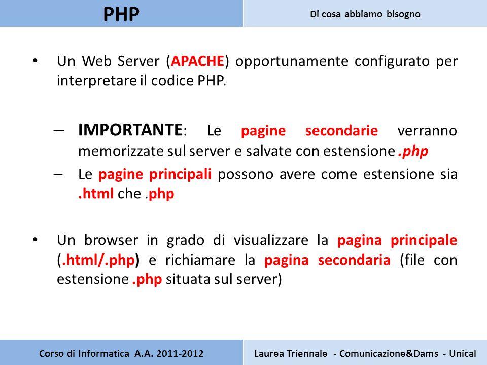 OPPURE OPPURE PagSecondaria2.php: programma in php <?PHP echo il tuo nome è $_POST[ NomeInserito ] ; echo il tuo cognome è $_POST[ CognomeInserito ] ; ?> Corso di Informatica A.A.