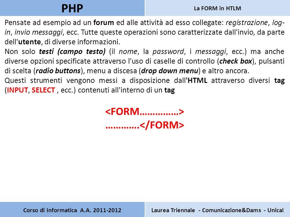 Corso di Informatica A.A. 2011-2012Laurea Triennale - Comunicazione&Dams - Unical PHP La FORM in HTLM Pensate ad esempio ad un forum ed alle attività