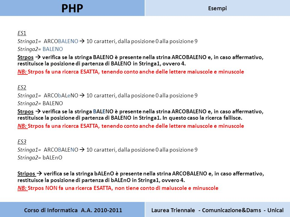 Pagina principale PHP Test HTML Nome: Cognome: Password: Corso di Informatica A.A.
