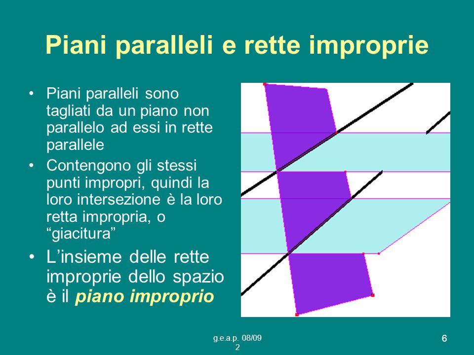 g.e.a.p. 08/09 2 6 Piani paralleli e rette improprie Piani paralleli sono tagliati da un piano non parallelo ad essi in rette parallele Contengono gli