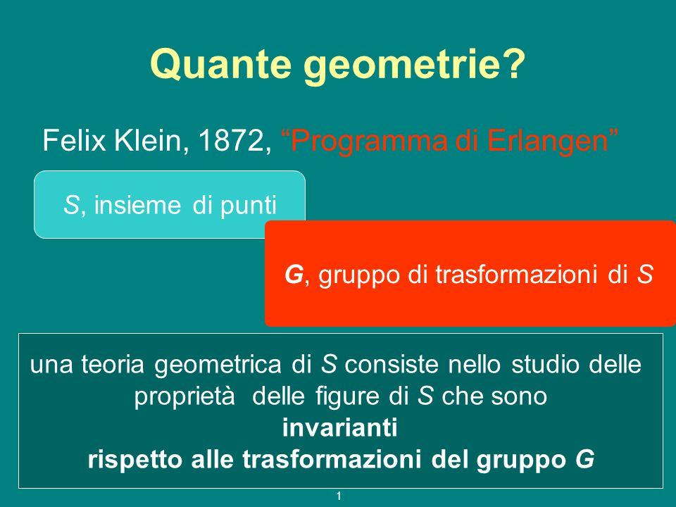 g.e.a.p. 08/09 1 Quante geometrie? Felix Klein, 1872, Programma di Erlangen S, insieme di punti G, gruppo di trasformazioni di S una teoria geometrica