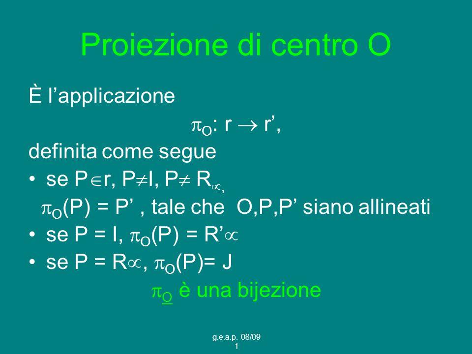 g.e.a.p. 08/09 1 Proiezione di centro O È lapplicazione O : r r, definita come segue se P r, P I, P R, O (P) = P, tale che O,P,P siano allineati se P
