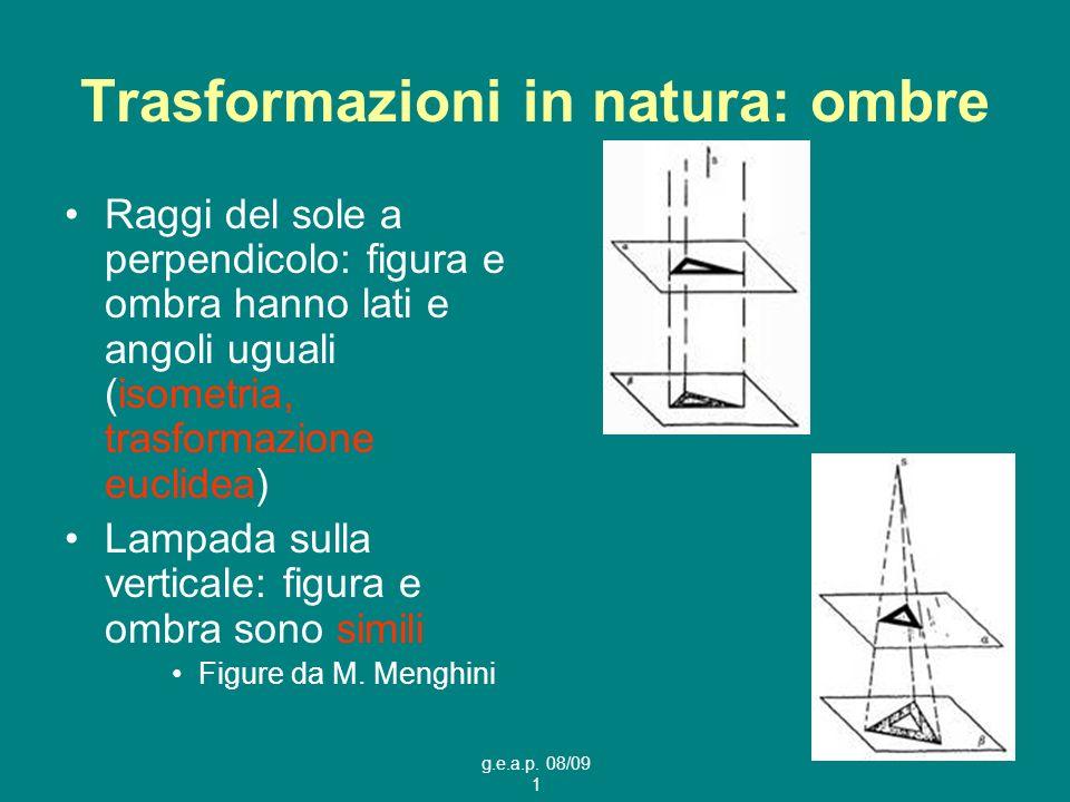 g.e.a.p. 08/09 1 Trasformazioni in natura: ombre Raggi del sole a perpendicolo: figura e ombra hanno lati e angoli uguali (isometria, trasformazione e