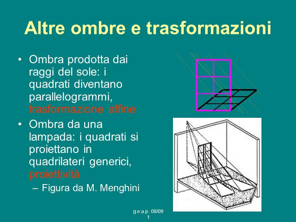g.e.a.p. 08/09 1 Altre ombre e trasformazioni Ombra prodotta dai raggi del sole: i quadrati diventano parallelogrammi, trasformazione affine Ombra da