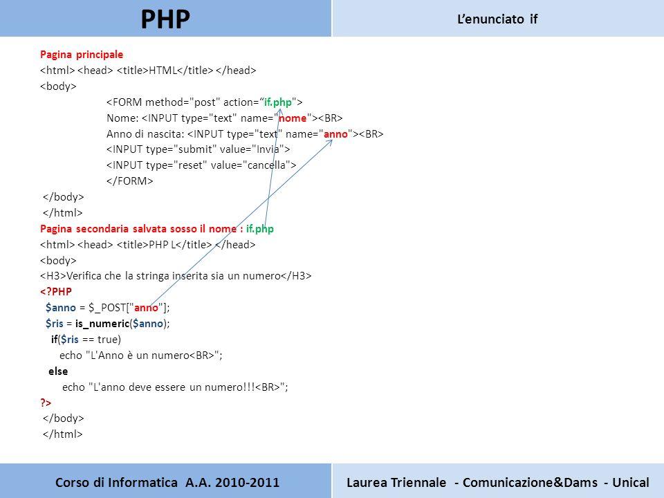 Pagina principale HTML Nome: Anno di nascita: Pagina secondaria salvata sosso il nome : if.php PHP L Verifica che la stringa inserita sia un numero < PHP $anno = $_POST[ anno ]; $ris = is_numeric($anno); if($ris == true) echo L Anno è un numero ; else echo L anno deve essere un numero!!.