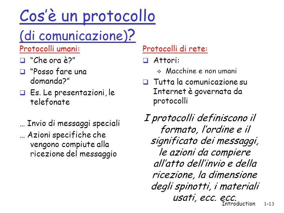 Introduction1-13 Cosè un protocollo (di comunicazione) ? Protocolli umani: Che ora è? Posso fare una domanda? Es. Le presentazioni, le telefonate … In
