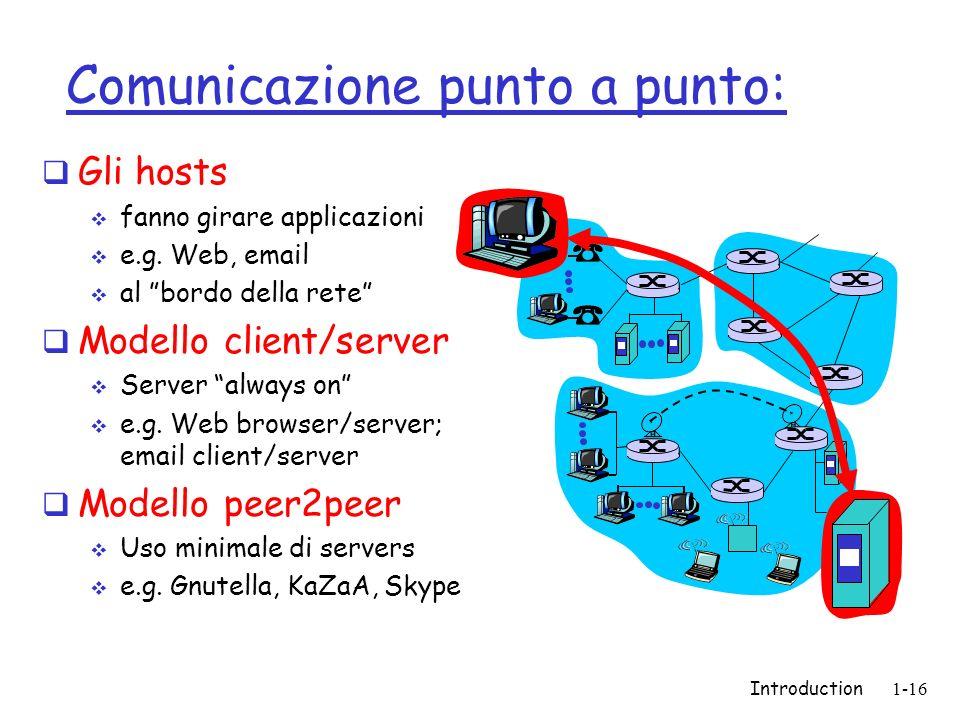 Introduction1-16 Comunicazione punto a punto: Gli hosts fanno girare applicazioni e.g. Web, email al bordo della rete Modello client/server Server alw