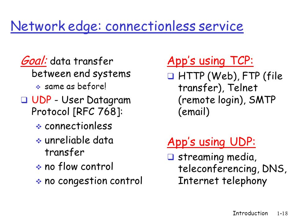 Introduction1-18 Network edge: connectionless service Goal: data transfer between end systems same as before! UDP - User Datagram Protocol [RFC 768]: