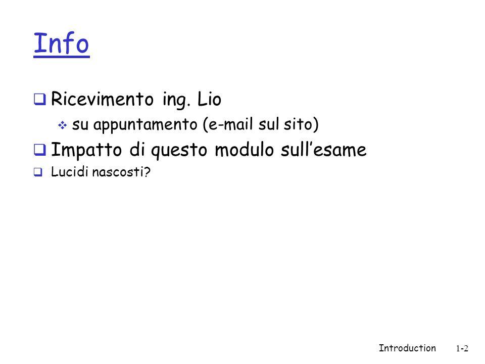 Info Ricevimento ing. Lio su appuntamento (e-mail sul sito) Impatto di questo modulo sullesame Lucidi nascosti? Introduction1-2