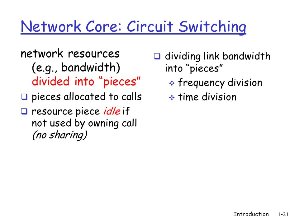 Introduction1-21 Network Core: Circuit Switching network resources (e.g., bandwidth) divided into pieces pieces allocated to calls resource piece idle