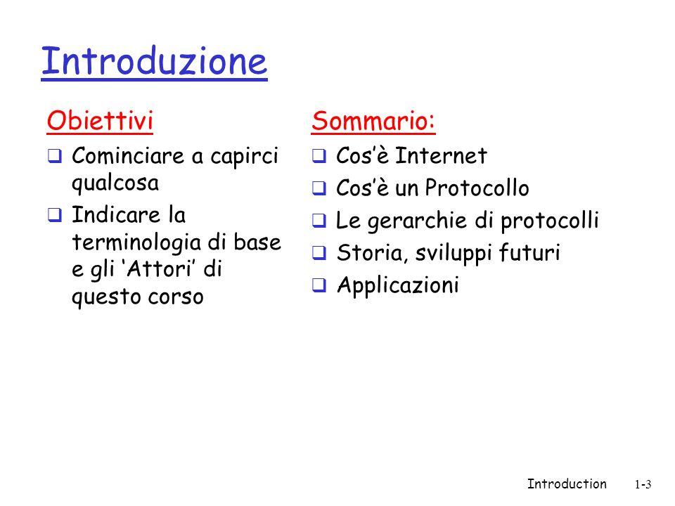 Introduction1-3 Introduzione Obiettivi Cominciare a capirci qualcosa Indicare la terminologia di base e gli Attori di questo corso Sommario: Cosè Inte