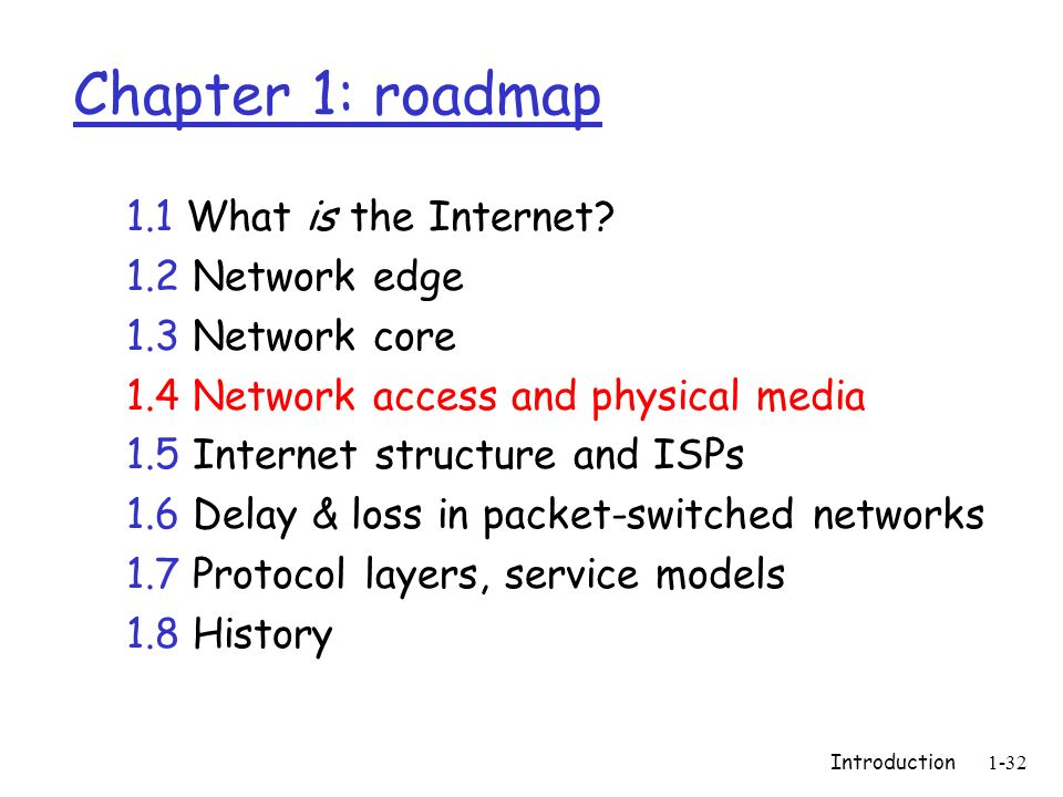 Introduction1-32 Chapter 1: roadmap 1.1 What is the Internet? 1.2 Network edge 1.3 Network core 1.4 Network access and physical media 1.5 Internet str
