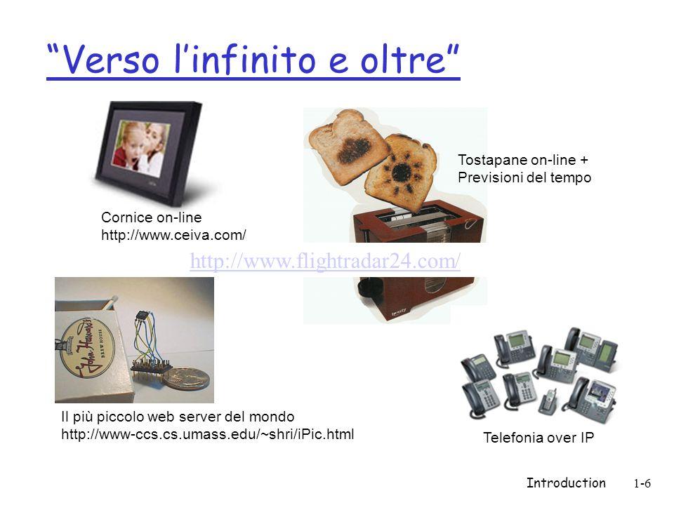 Introduction1-6 Verso linfinito e oltre Il più piccolo web server del mondo http://www-ccs.cs.umass.edu/~shri/iPic.html Cornice on-line http://www.cei