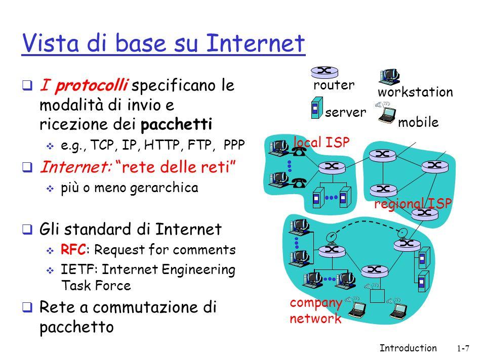 Introduction1-7 Vista di base su Internet I protocolli specificano le modalità di invio e ricezione dei pacchetti e.g., TCP, IP, HTTP, FTP, PPP Intern