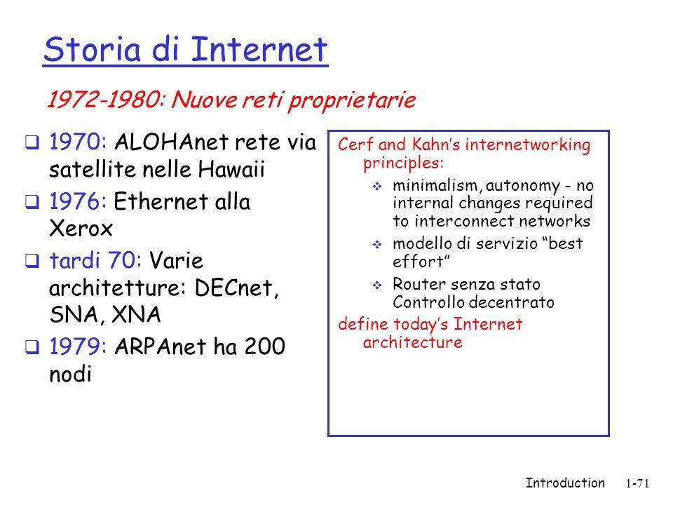 Introduction1-71 Storia di Internet 1970: ALOHAnet rete via satellite nelle Hawaii 1976: Ethernet alla Xerox tardi 70: Varie architetture: DECnet, SNA