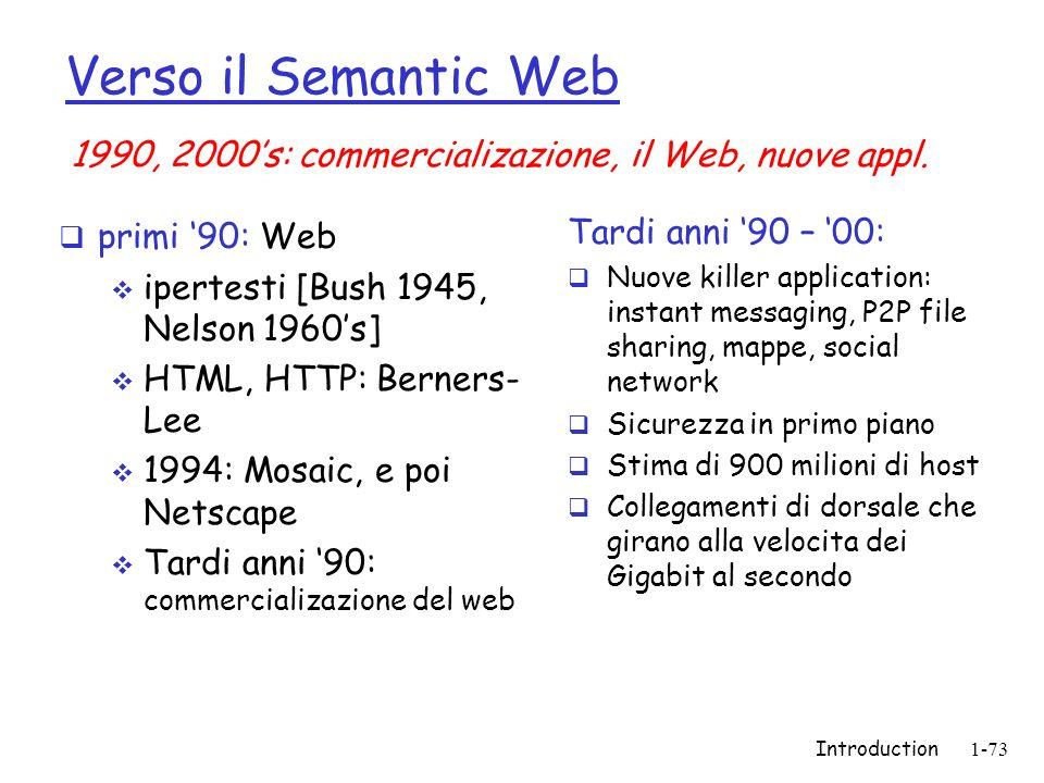 Introduction1-73 Verso il Semantic Web primi 90: Web ipertesti [Bush 1945, Nelson 1960s] HTML, HTTP: Berners- Lee 1994: Mosaic, e poi Netscape Tardi a
