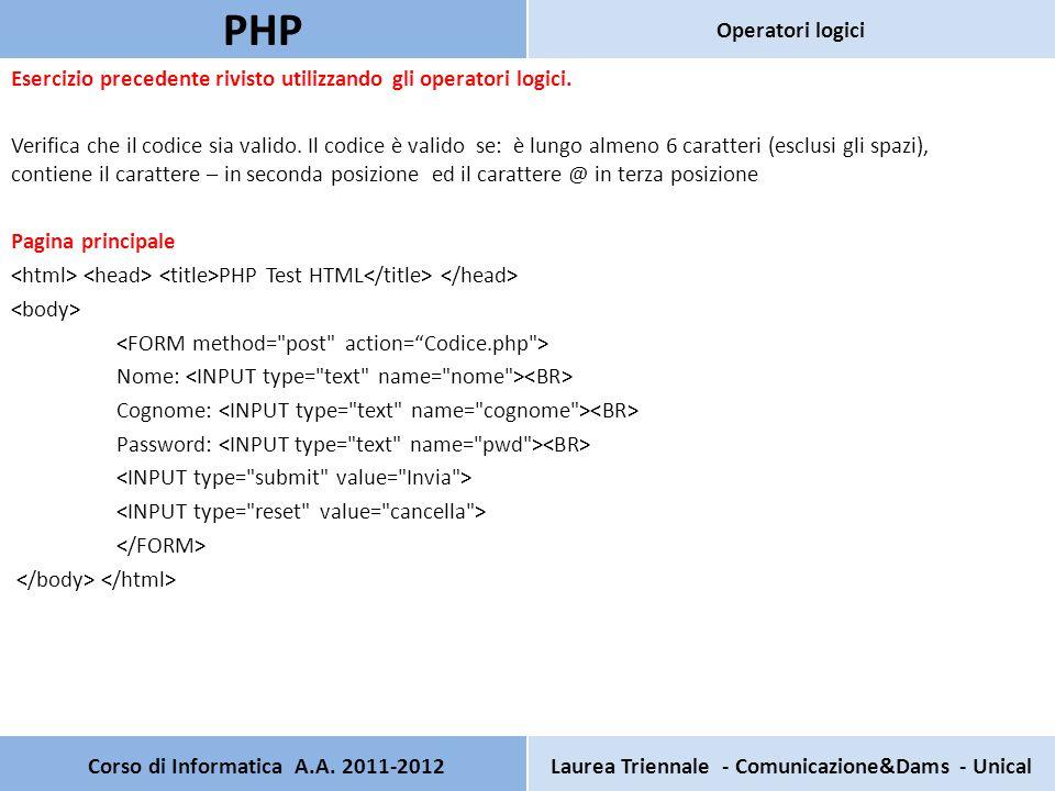Pagina secondaria: Codice.php PHP Test HTML Verifica che il codice sia valido.