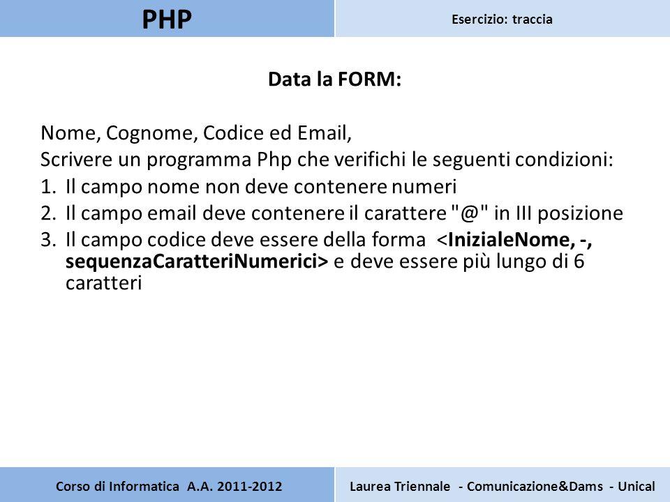 Pagina principale: Registrazione Inserisci i tuoi dati per registrarti Nome: Cognome: Codice: E-mail: Corso di Informatica A.A.
