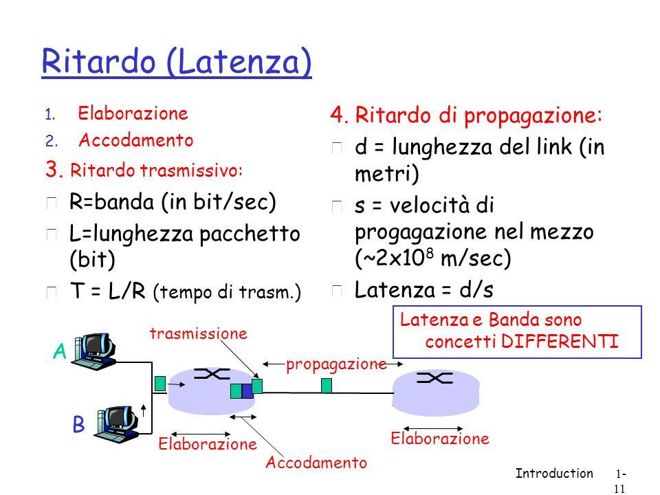 Introduction1- 11 Ritardo (Latenza) 1. Elaborazione 2. Accodamento 3. Ritardo trasmissivo: r R=banda (in bit/sec) r L=lunghezza pacchetto (bit) r T =