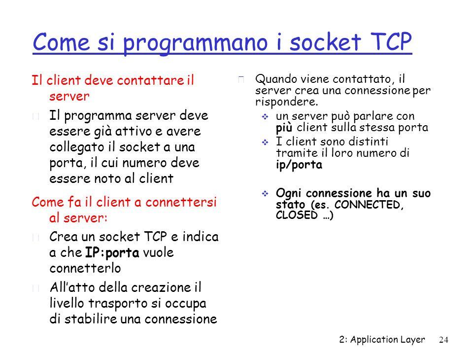2: Application Layer24 Come si programmano i socket TCP Il client deve contattare il server r Il programma server deve essere già attivo e avere colle