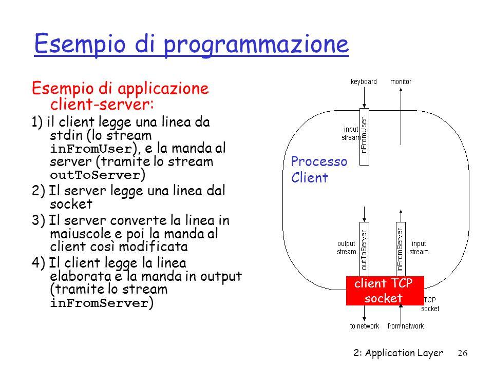 2: Application Layer26 Esempio di programmazione Esempio di applicazione client-server: 1) il client legge una linea da stdin (lo stream inFromUser ),