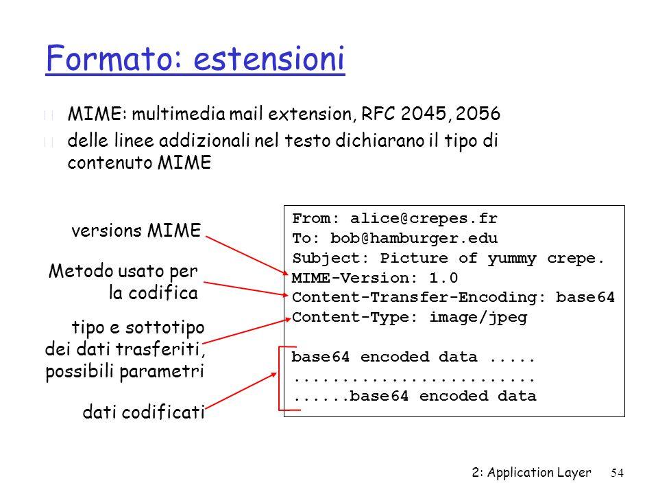 2: Application Layer54 Formato: estensioni r MIME: multimedia mail extension, RFC 2045, 2056 r delle linee addizionali nel testo dichiarano il tipo di