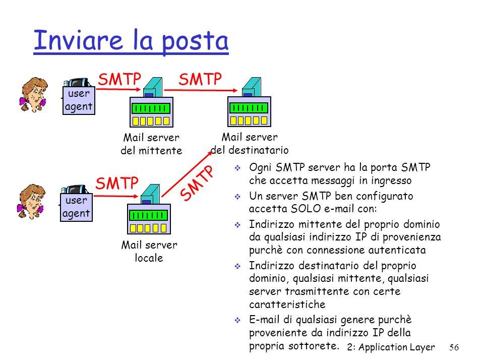 Inviare la posta 2: Application Layer56 Ogni SMTP server ha la porta SMTP che accetta messaggi in ingresso Un server SMTP ben configurato accetta SOLO