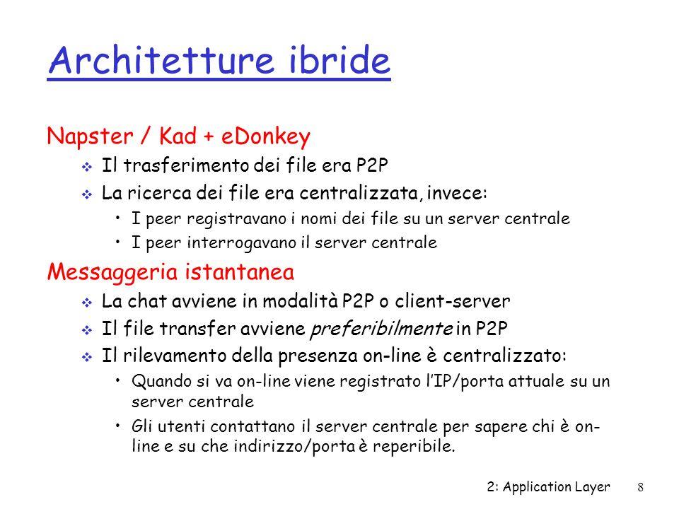 2: Application Layer8 Architetture ibride Napster / Kad + eDonkey Il trasferimento dei file era P2P La ricerca dei file era centralizzata, invece: I p