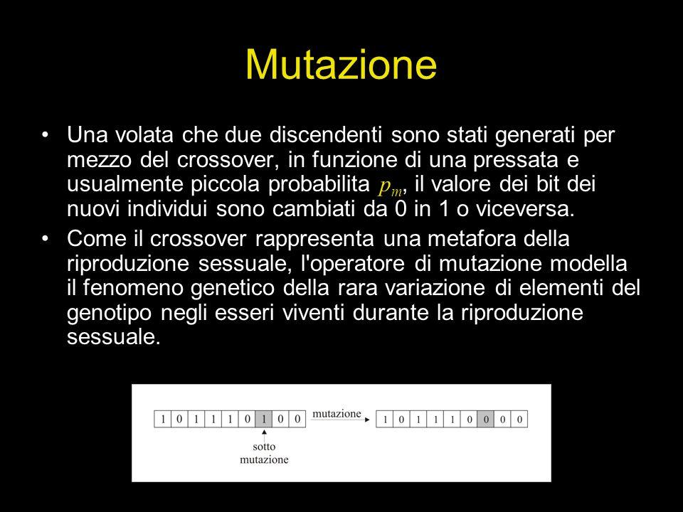 Mutazione Una volata che due discendenti sono stati generati per mezzo del crossover, in funzione di una pressata e usualmente piccola probabilita p m