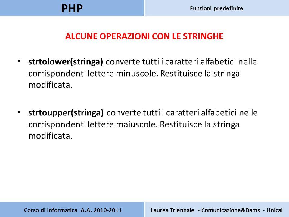 ALCUNE OPERAZIONI CON LE STRINGHE strtolower(stringa) converte tutti i caratteri alfabetici nelle corrispondenti lettere minuscole. Restituisce la str