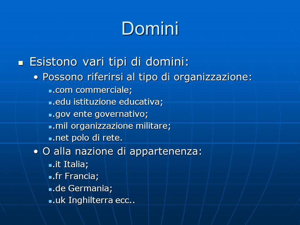 Domini Esistono vari tipi di domini: Esistono vari tipi di domini: Possono riferirsi al tipo di organizzazione:Possono riferirsi al tipo di organizzaz