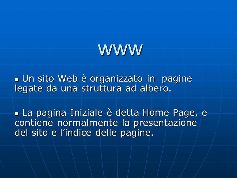 www Un sito Web è organizzato in pagine legate da una struttura ad albero. Un sito Web è organizzato in pagine legate da una struttura ad albero. La p