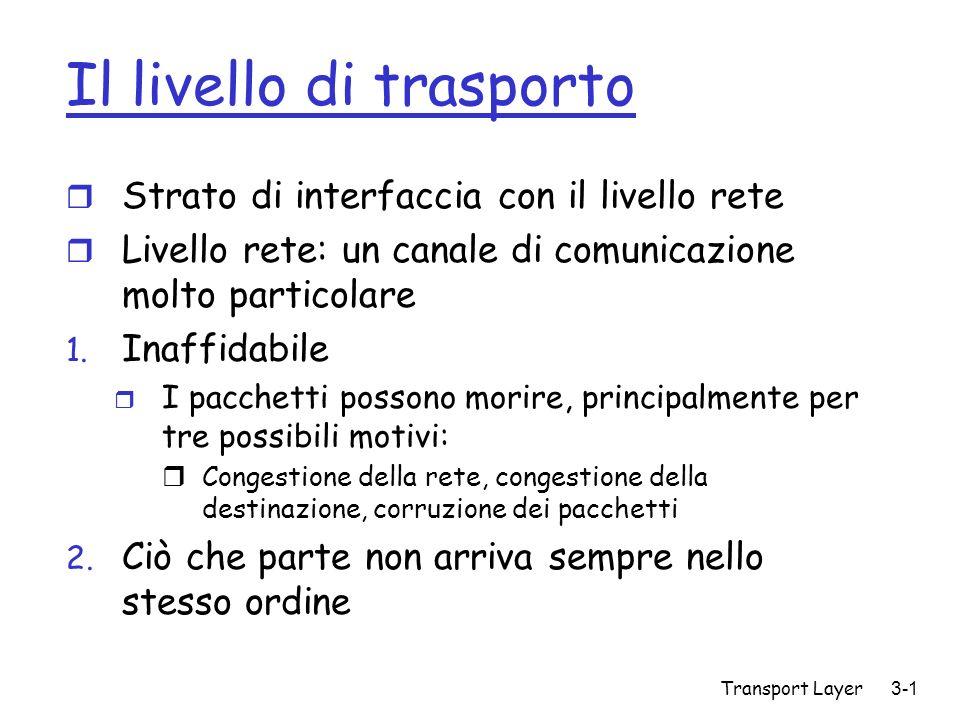 Transport Layer 3-1 Il livello di trasporto r Strato di interfaccia con il livello rete r Livello rete: un canale di comunicazione molto particolare 1