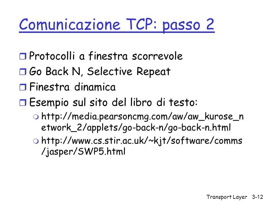 Transport Layer 3-12 Comunicazione TCP: passo 2 r Protocolli a finestra scorrevole r Go Back N, Selective Repeat r Finestra dinamica r Esempio sul sit
