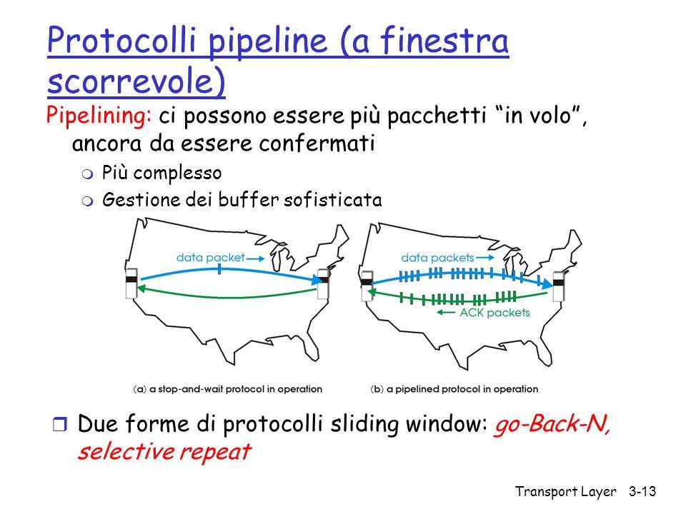 Transport Layer 3-13 Protocolli pipeline (a finestra scorrevole) Pipelining: ci possono essere più pacchetti in volo, ancora da essere confermati m Pi