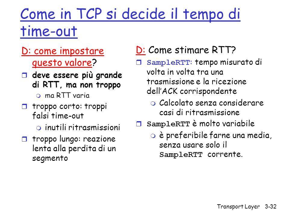 Transport Layer 3-32 Come in TCP si decide il tempo di time-out D: come impostare questo valore? r deve essere più grande di RTT, ma non troppo m ma R
