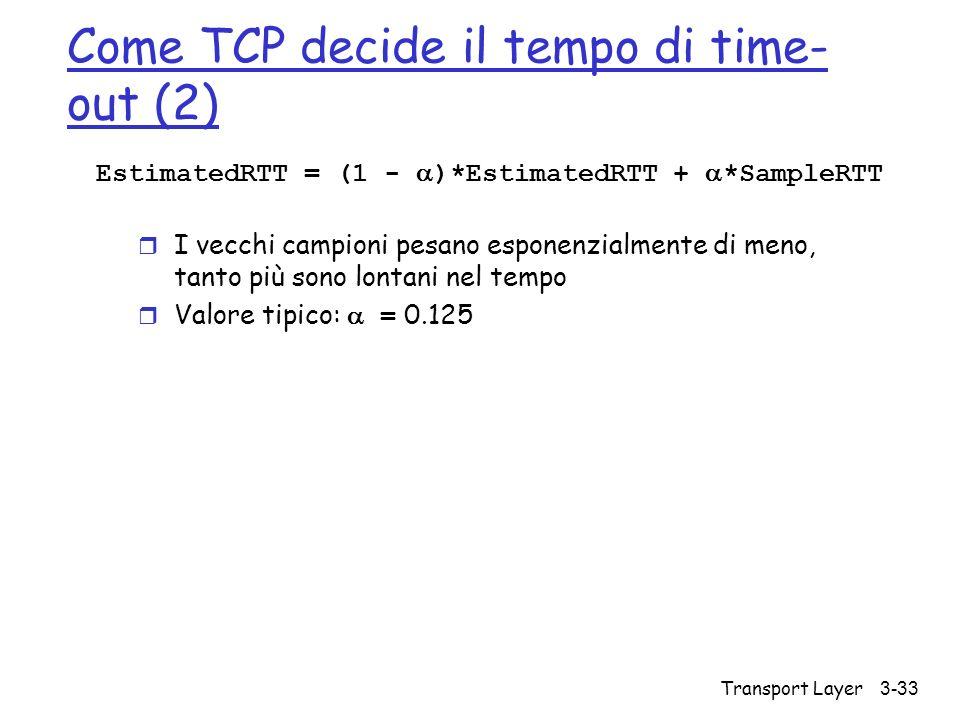 Transport Layer 3-33 Come TCP decide il tempo di time- out (2) EstimatedRTT = (1 - )*EstimatedRTT + *SampleRTT r I vecchi campioni pesano esponenzialm