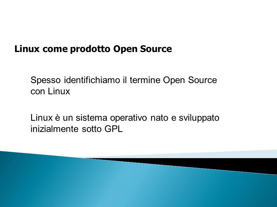 Linux come prodotto Open Source Spesso identifichiamo il termine Open Source con Linux Linux è un sistema operativo nato e sviluppato inizialmente sot