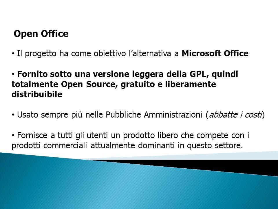 Il progetto ha come obiettivo lalternativa a Microsoft Office Fornito sotto una versione leggera della GPL, quindi totalmente Open Source, gratuito e